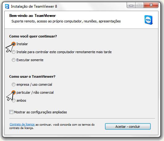 Tipo de instalação do teamviewer