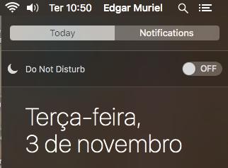 Ativando o Do not Disturn no Notification Center